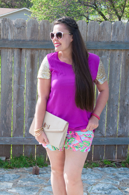 Lilly Pulizter Shorts and purple top
