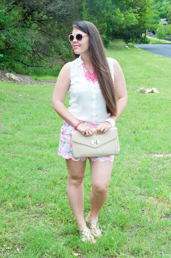 Lilly Pulizter Shorts in Green-Pink Colony Print