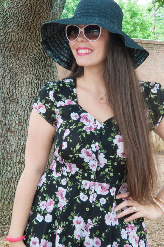 Pack-A-Hat with my floral romper