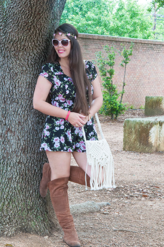 Romper with a fringe crossbody