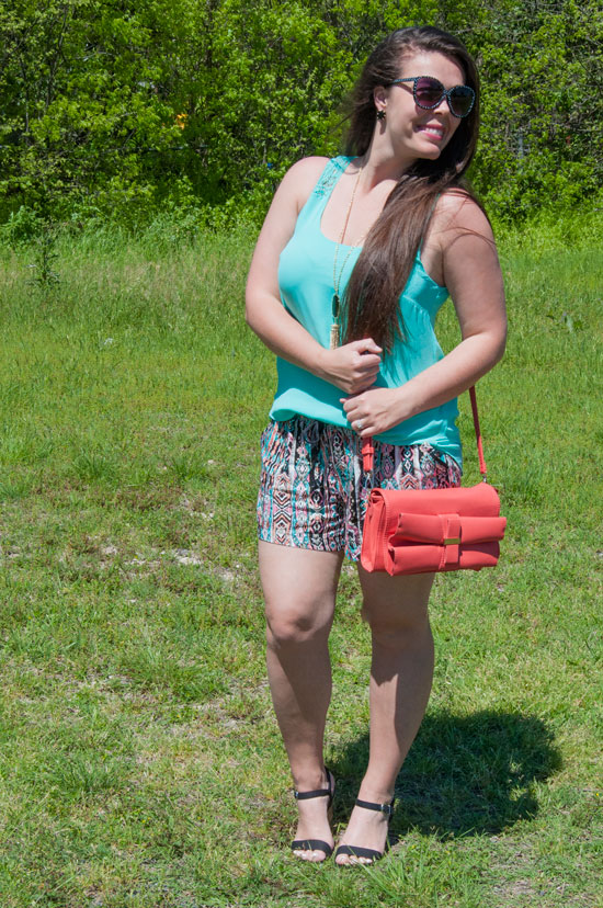 Turquoise chiffon top with aztec shorts