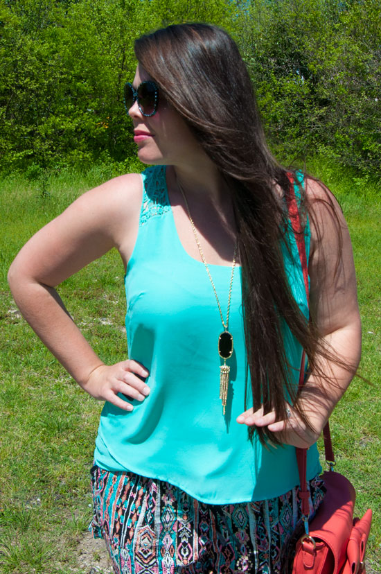 Turquoise top with aztec shorts