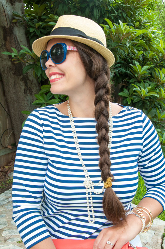Navy striped top with white shorts
