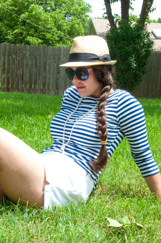 Striped top with a fedora