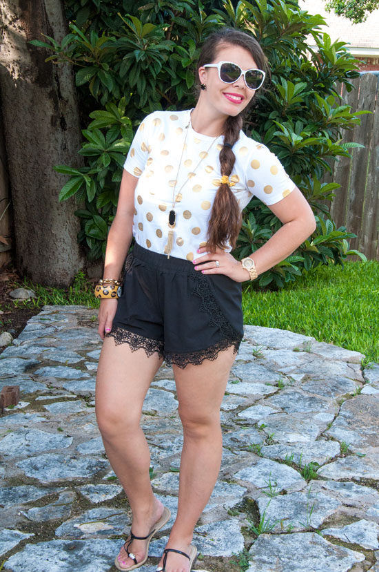 Gold-dots-tee-with-black-lace-shorts