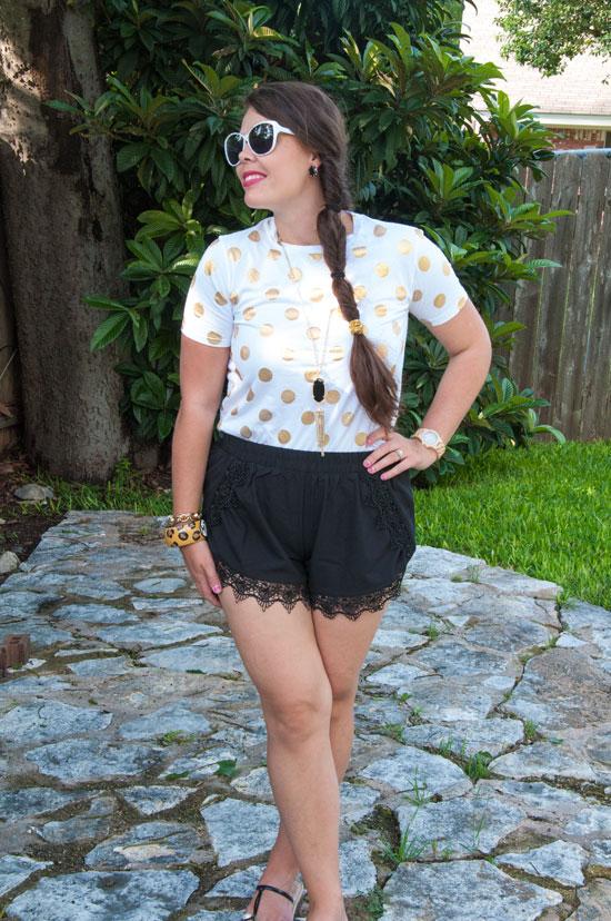 Gold-polka-dot-shirt-with-black-shorts