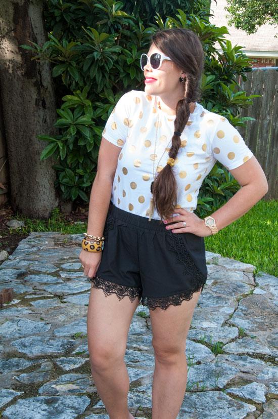 Gold-polka-dot-t-shirt-and-lace-shorts