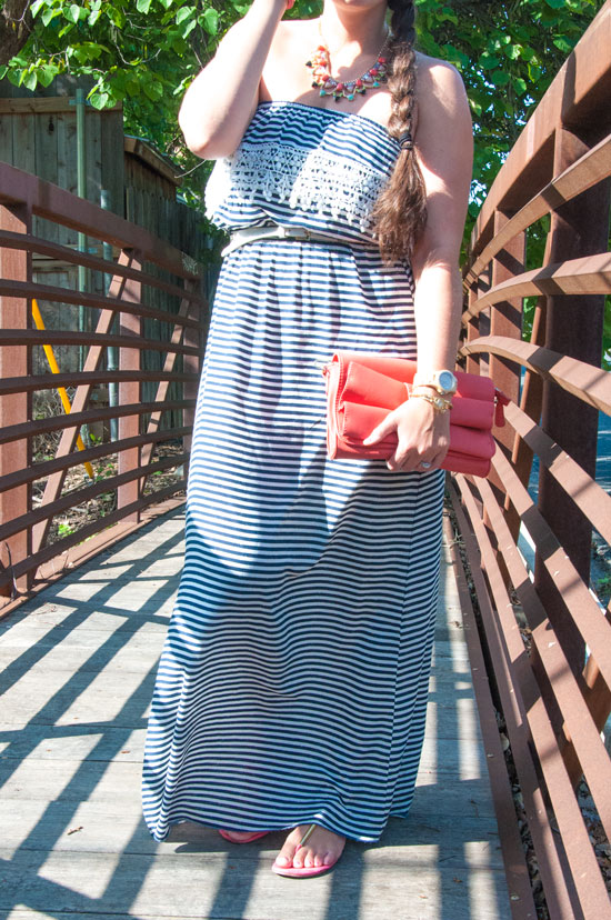 Navy maxi dress with coral accents
