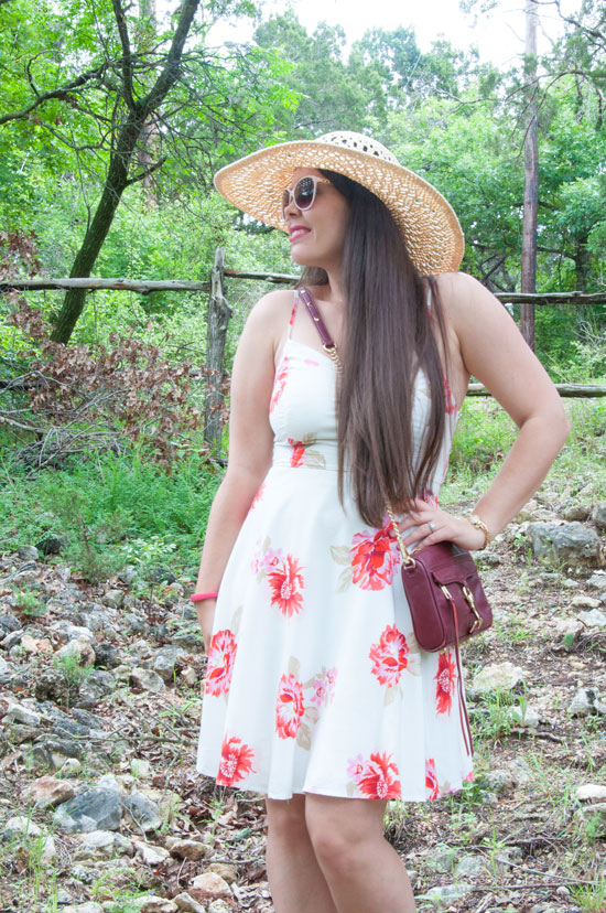 Red dress with straw floppy hat