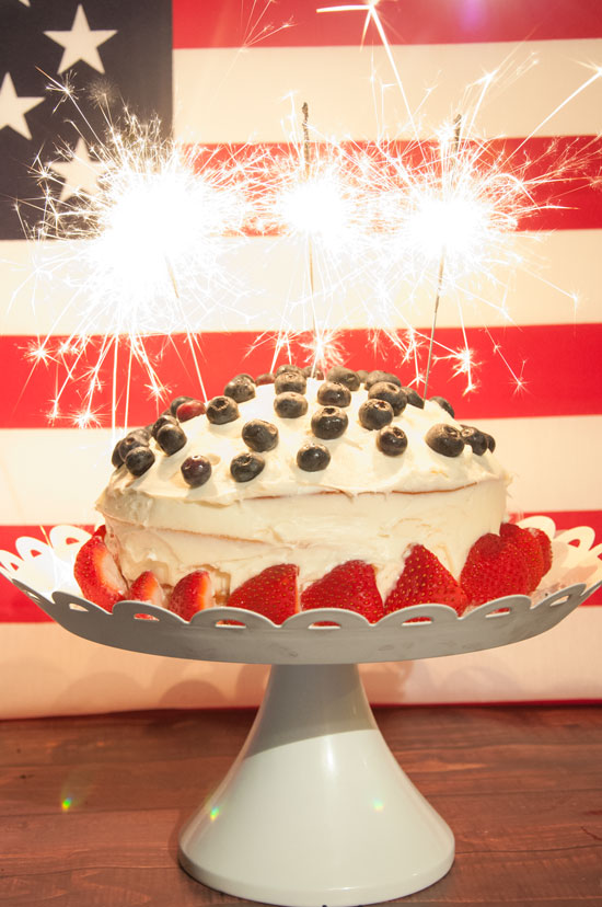 Red, white, and blue sparkler cake