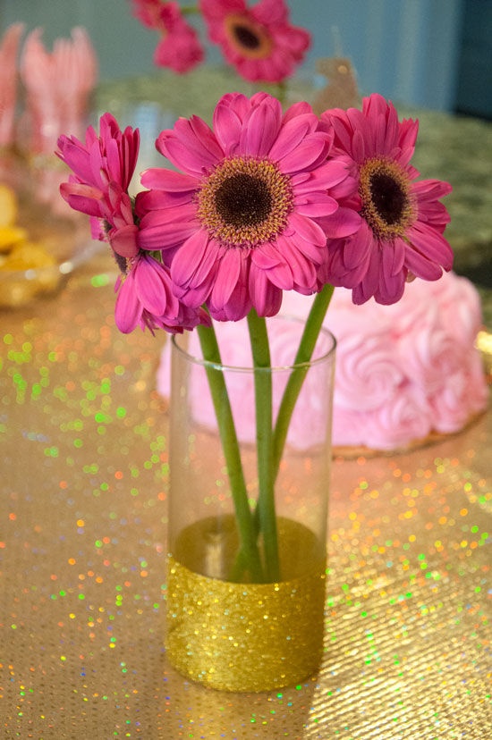 DIY Gold glitter vases- gold birthday party decor