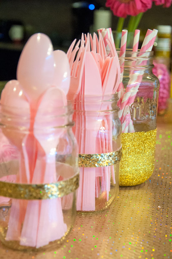 Gold dipped mason jars- perfect for birthday parties