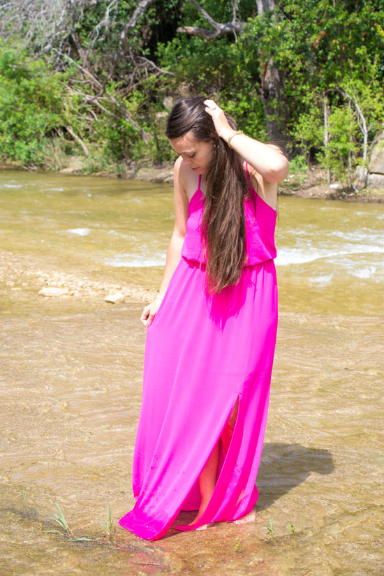 Hot pink maxi dress with statement necklace