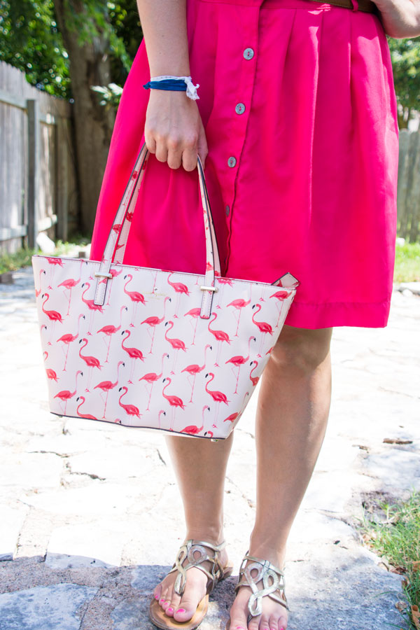 Flamingo handbag with pink skirt