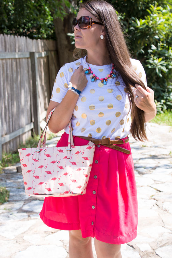 Gold dot tee with pink skirt