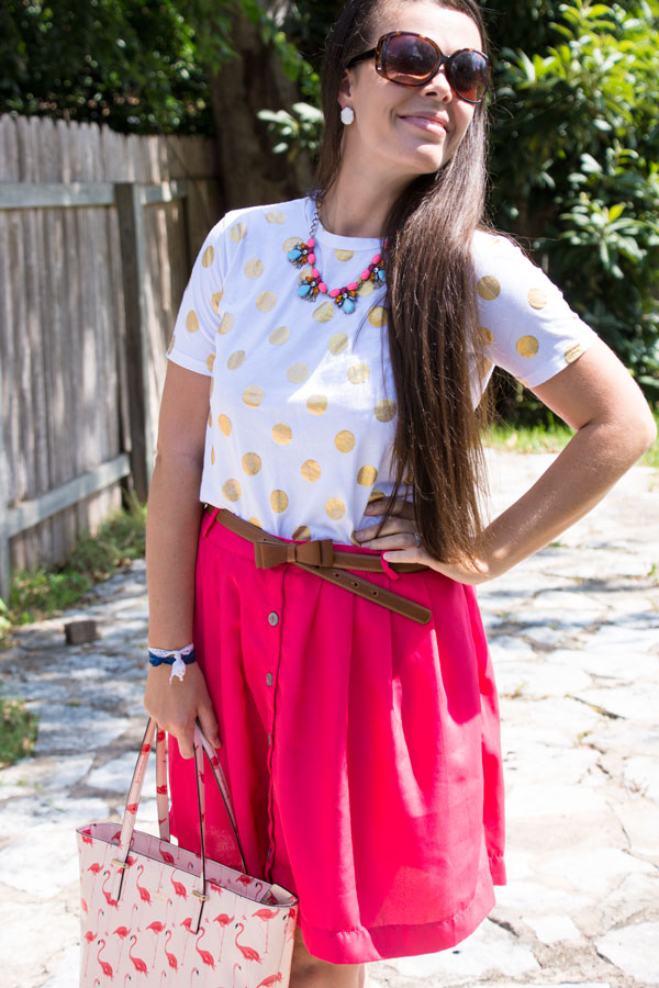 Pink skirt with a t-shirt
