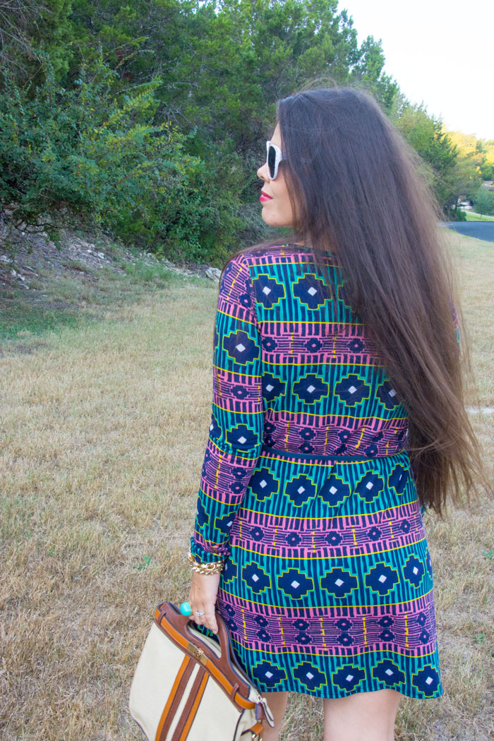 Turquoise and Pink Long Sleeved Dress