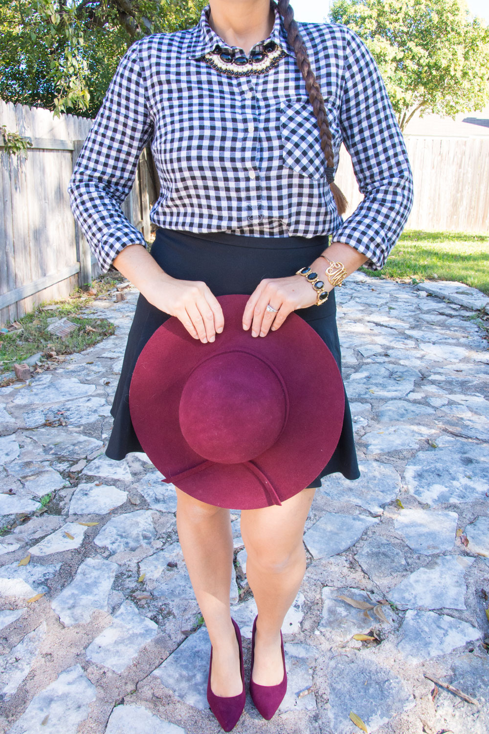 Burgudy Hat with black buffalo plaid