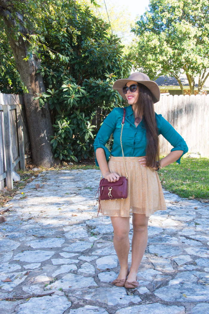 Mustard Old Navy Skirt with Teal top