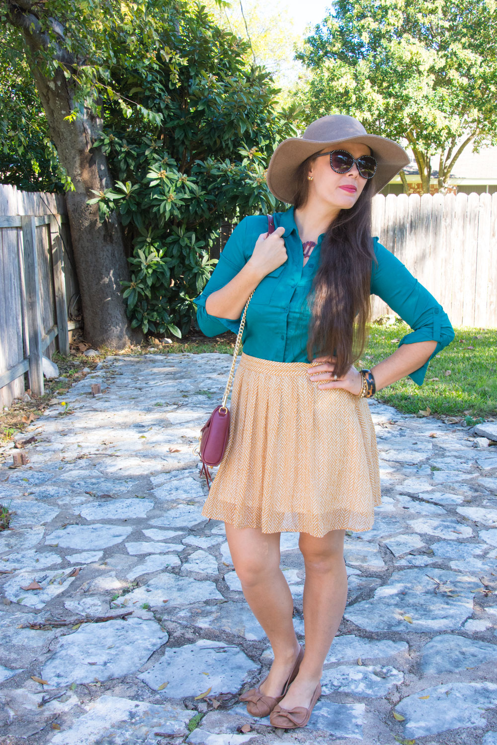 Mustard and teal outfit for fall