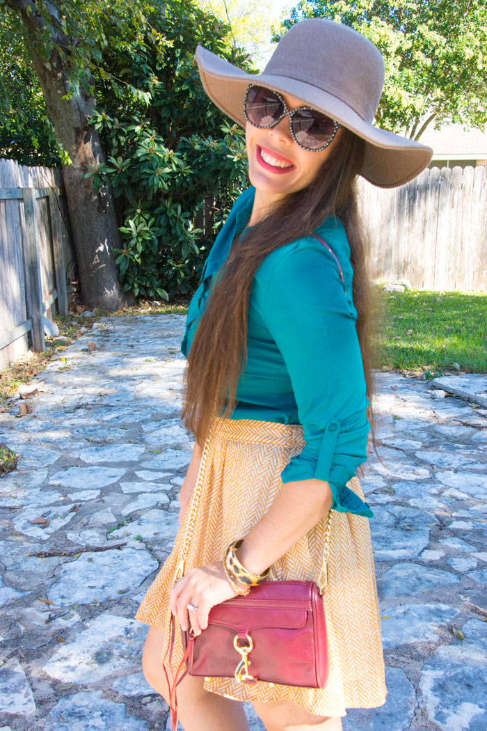 Teal and Mustard fall outfit