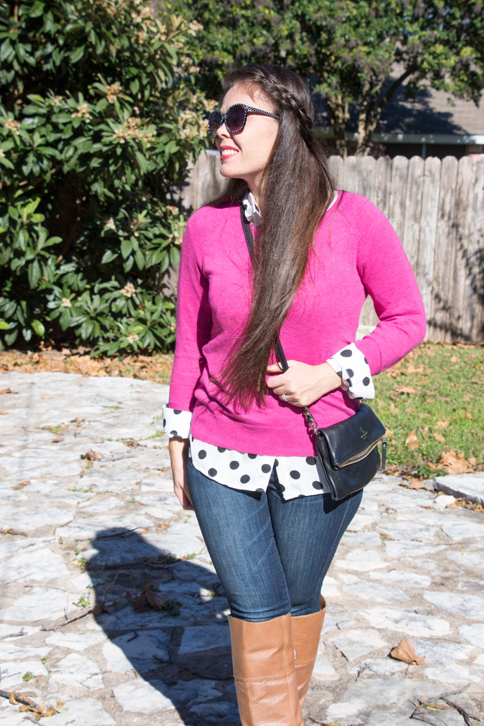 Pink sweater layered with polka dots