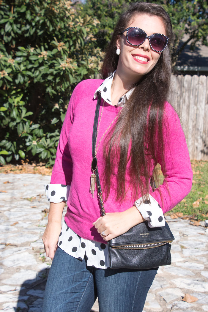 Pink sweater with polka dot top