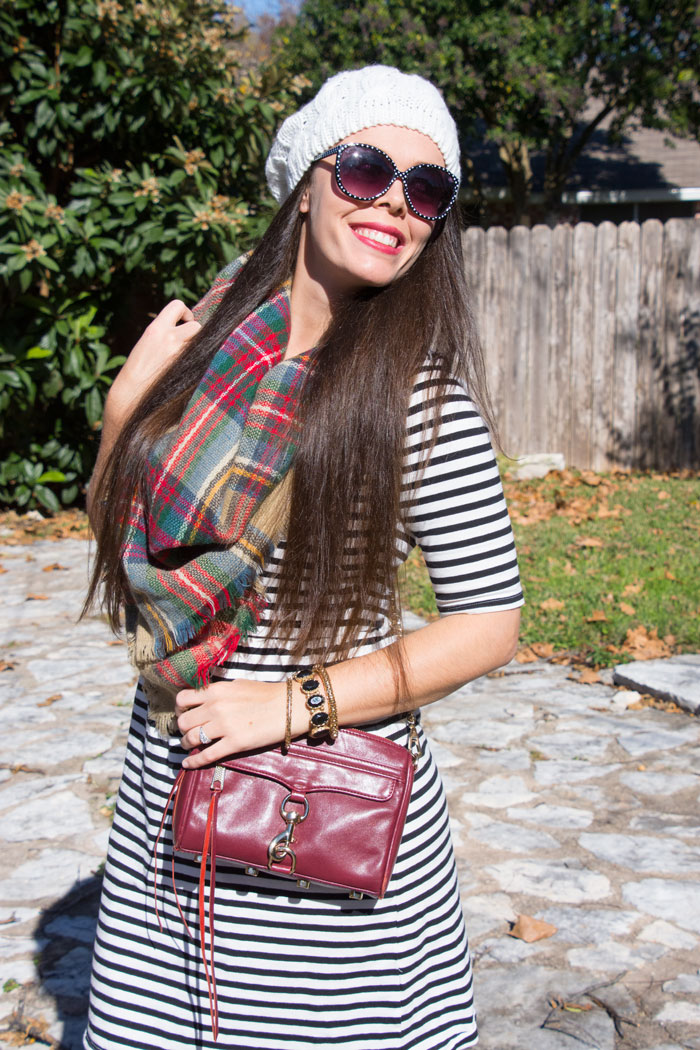 Black and white striped dress with red plaid