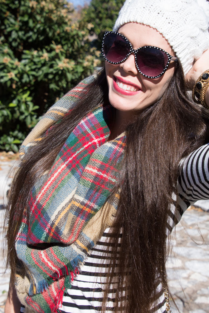 Plaid blanket scarf with striped dress