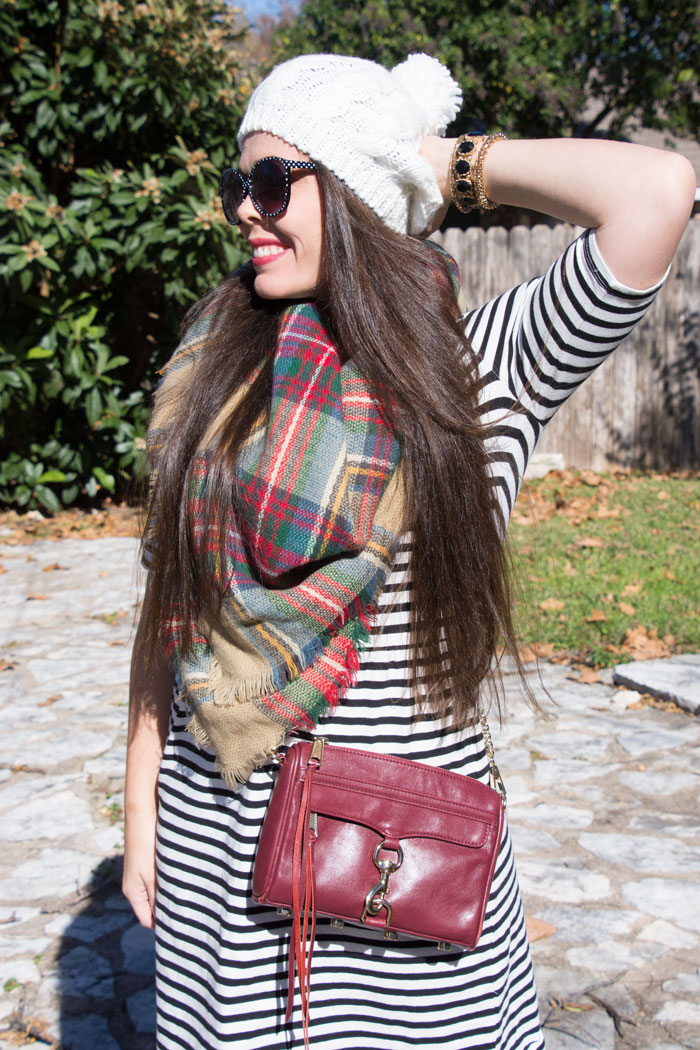 Striped dress and plaid scarf